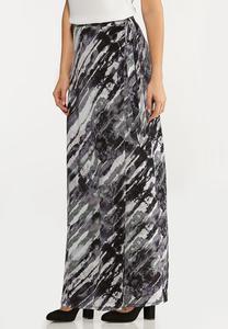 Plus Size Watercolor Faux Wrap Maxi Skirt