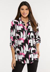 Plus Size Abstract Pullover Top