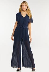 Pleated Tie Waist Jumpsuit
