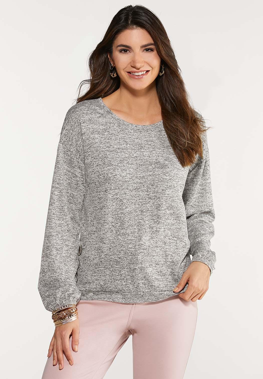 Plus Size Button Side Knit Top