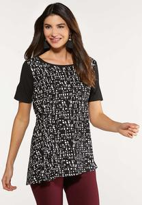 Plus Size Asymmetrical Hem Print Top