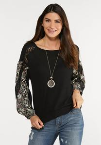 Plus Size Paisley Crochet Thermal Top