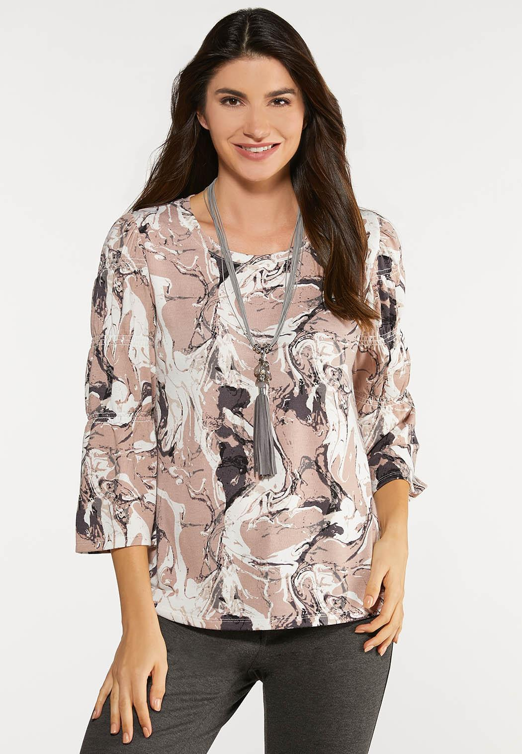Plus Size Smock Sleeve Marble Top