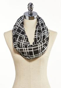 Plaid Grid Infinity Scarf