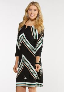Plus Size Stripe Zip Front Dress