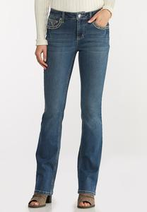 Petite Stud Stitch Bootcut Jeans