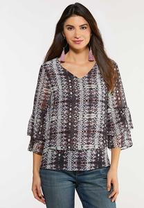 Plus Size Snakeskin Tiered Top