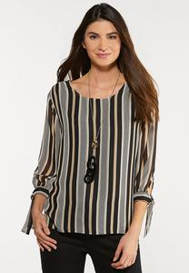 Plus Size Tie Sleeve Stripe Top