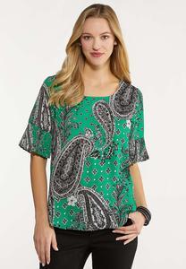 Plus Size Pleated Sleeve Printed Top