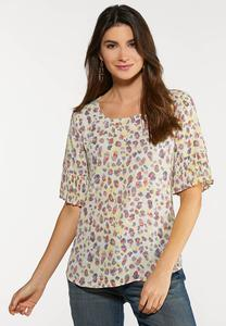 Plus Size Pleated Sleeve Printed Top