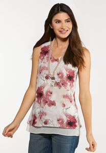 Plus Size Floral Layered Tank