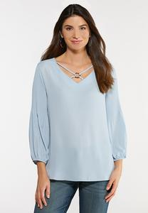 Plus Size Pleated Sleeve Hardware Top