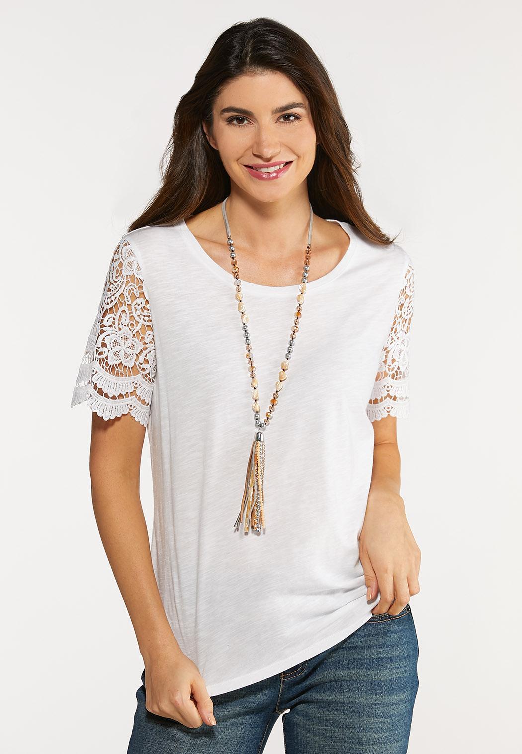 Plus Size Short Lace Sleeve Top
