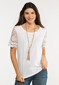 Plus Size Short Lace Sleeve Top