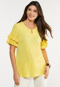 Plus Size Pleated Ruffled Sleeve Top