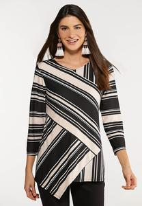 Asymmetrical Hem Stripe Top