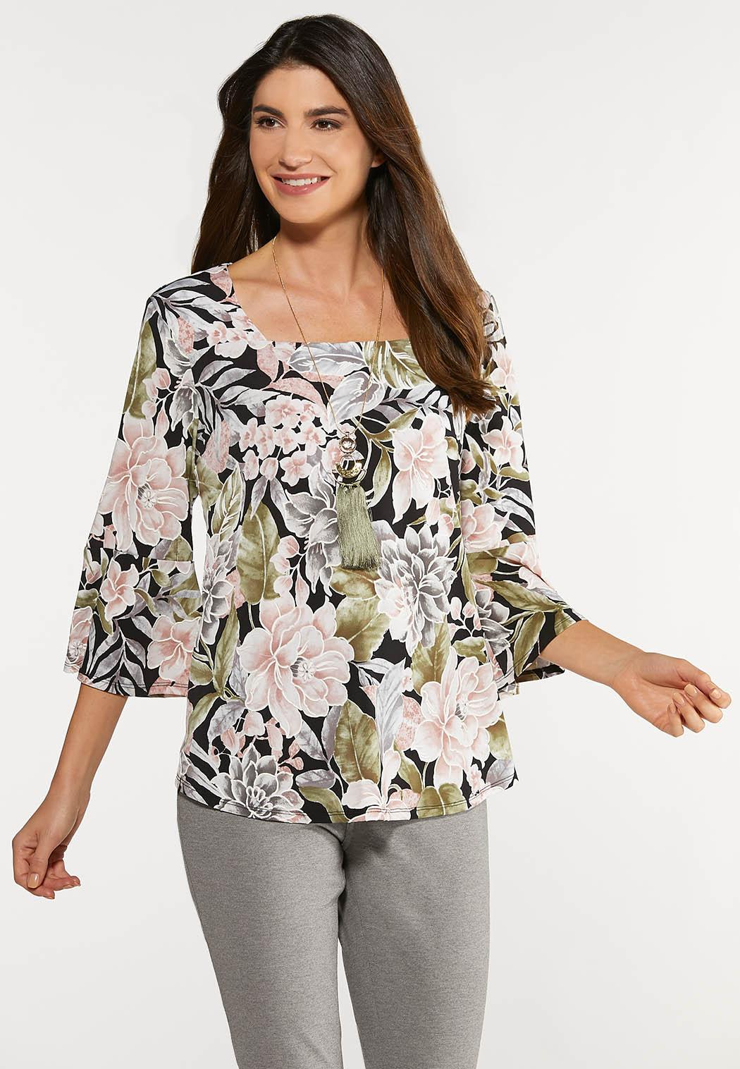 Plus Size Floral Bell Square Neck Top
