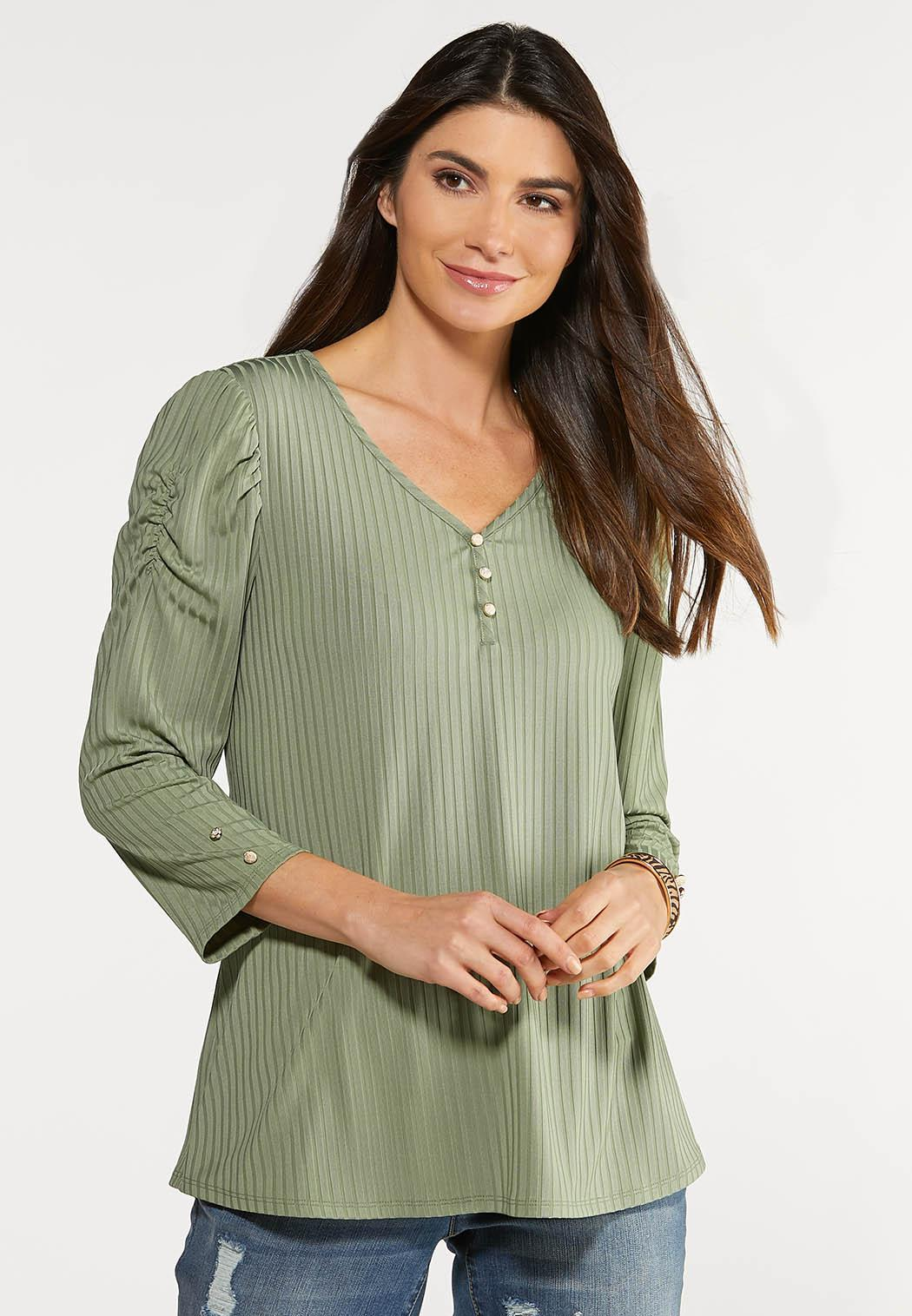 Plus Size Puff Sleeve Button Top