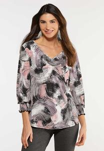 Plus Size Brush Stroke Smocked Top