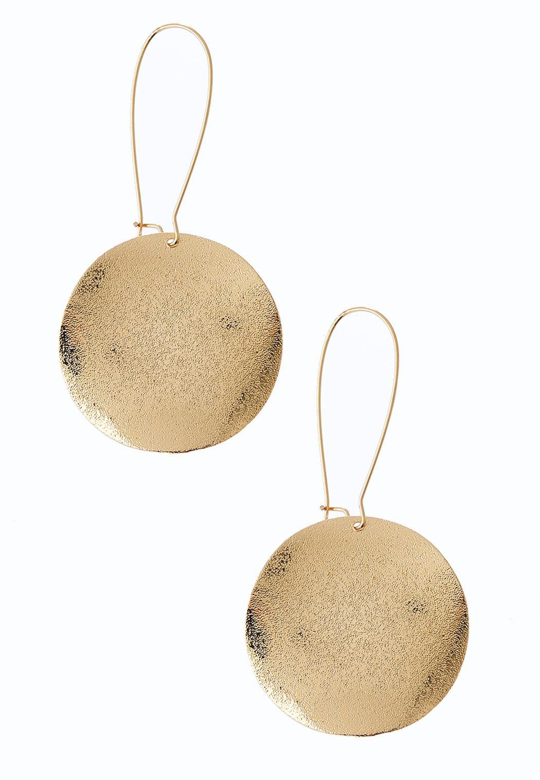 Gold Disk Drop Earrings