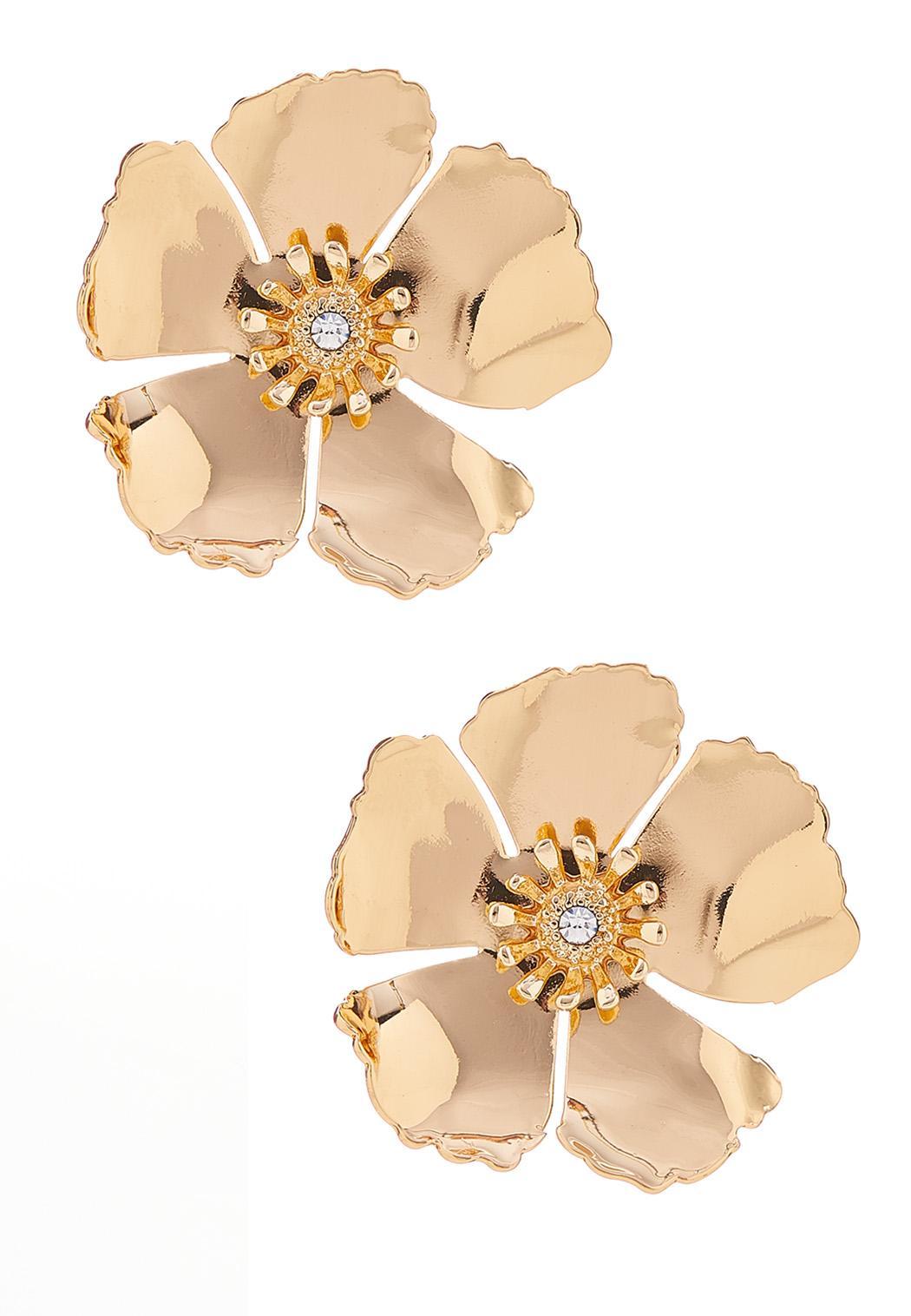 Gold Flower Button Earrings