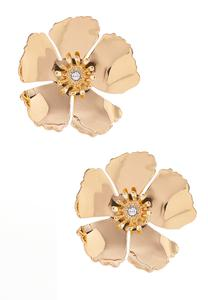 Gold Flower Button Earrings