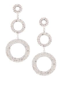 Triple Pave Circle Earrings