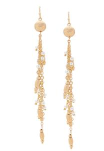 Linear Gold Bead Earrings