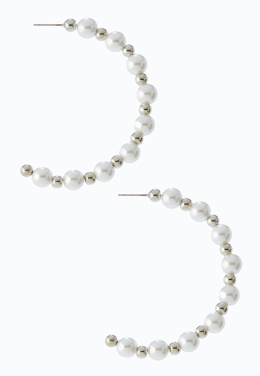 Pearl Bead Hoop Earrings