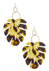 Lucite Palm Leaf Earrings