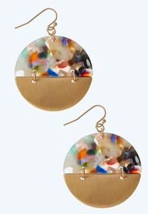 Speckled Lucite Circle Earrings