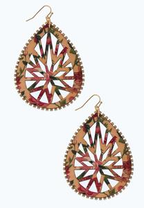 Printed Wood Tear Shaped Earrings