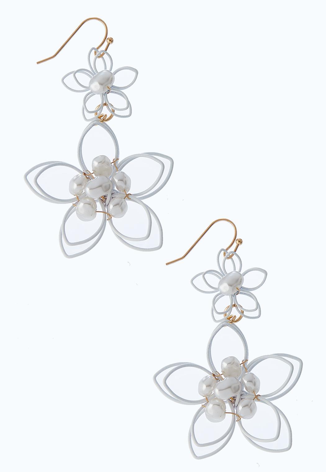 Enamel Flower Pearl Earrings