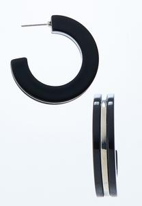 Silver Inset Hoop Earrings
