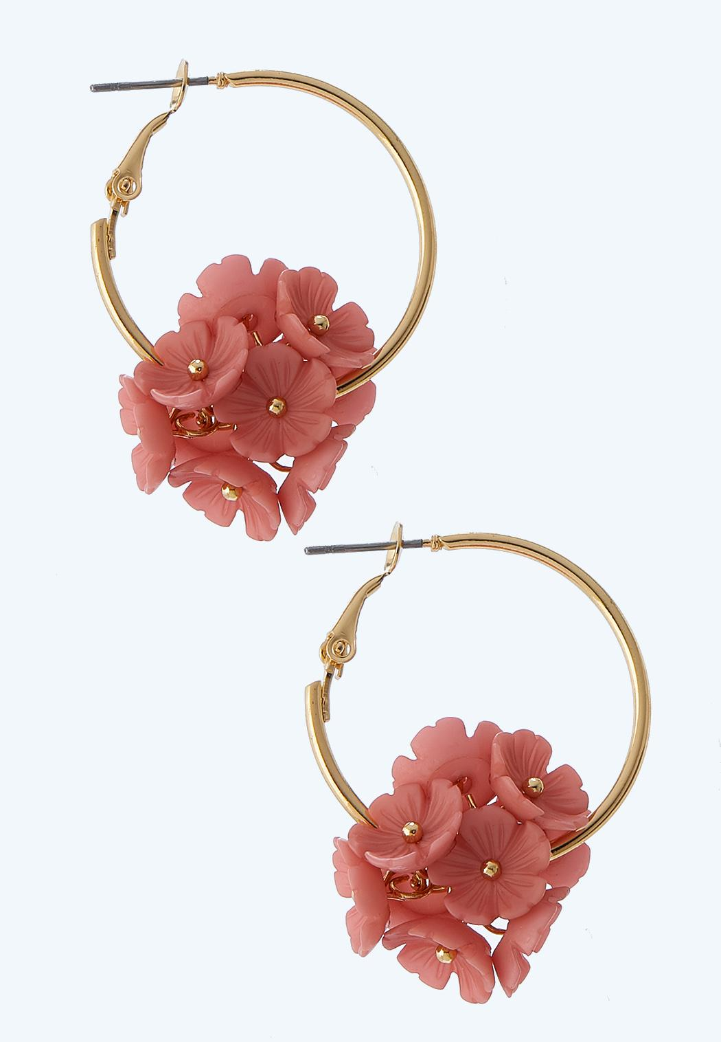Cluster Flower Hoop Earrings