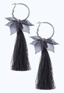 Resin Petal Tassel Earrings