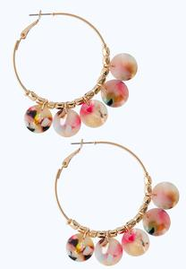 Colorful Lucite Disc Hoop Earrings