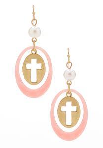 Lucite Hoop Cross Charm Earrings