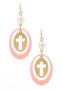 Lucite Hoop Cross Charm Earrings