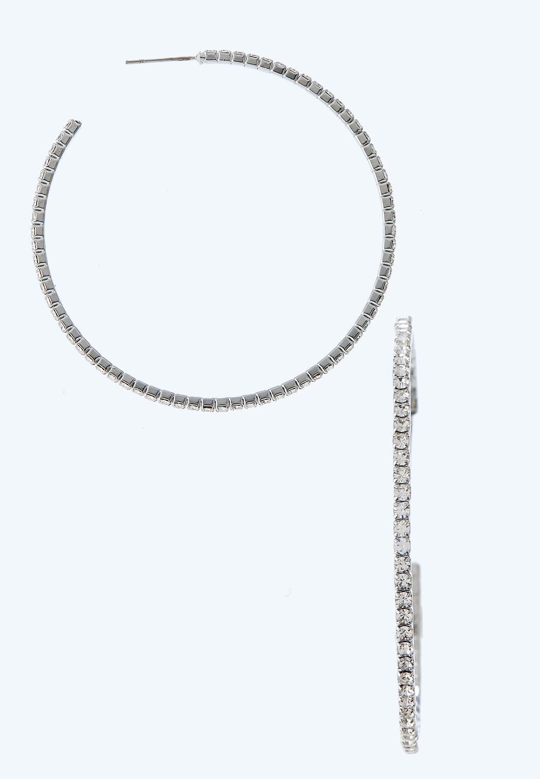 Thin Rhinestone Hoop Earrings