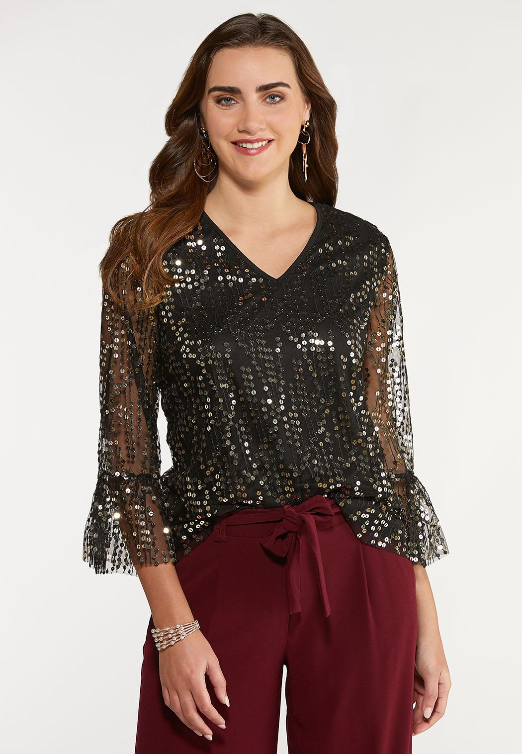 Plus Size Sequined Flare Sleeve Top