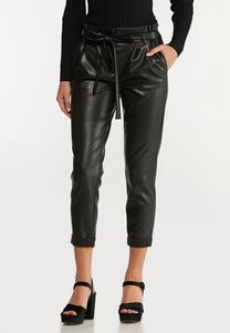 Faux Leather Belted Pants
