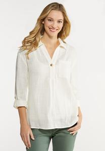 Plus Size Ivory Linen Top