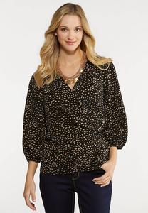 Plus Size Speckled Wrap Top