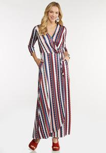 Plus Size Stripe Wrap Maxi Dress
