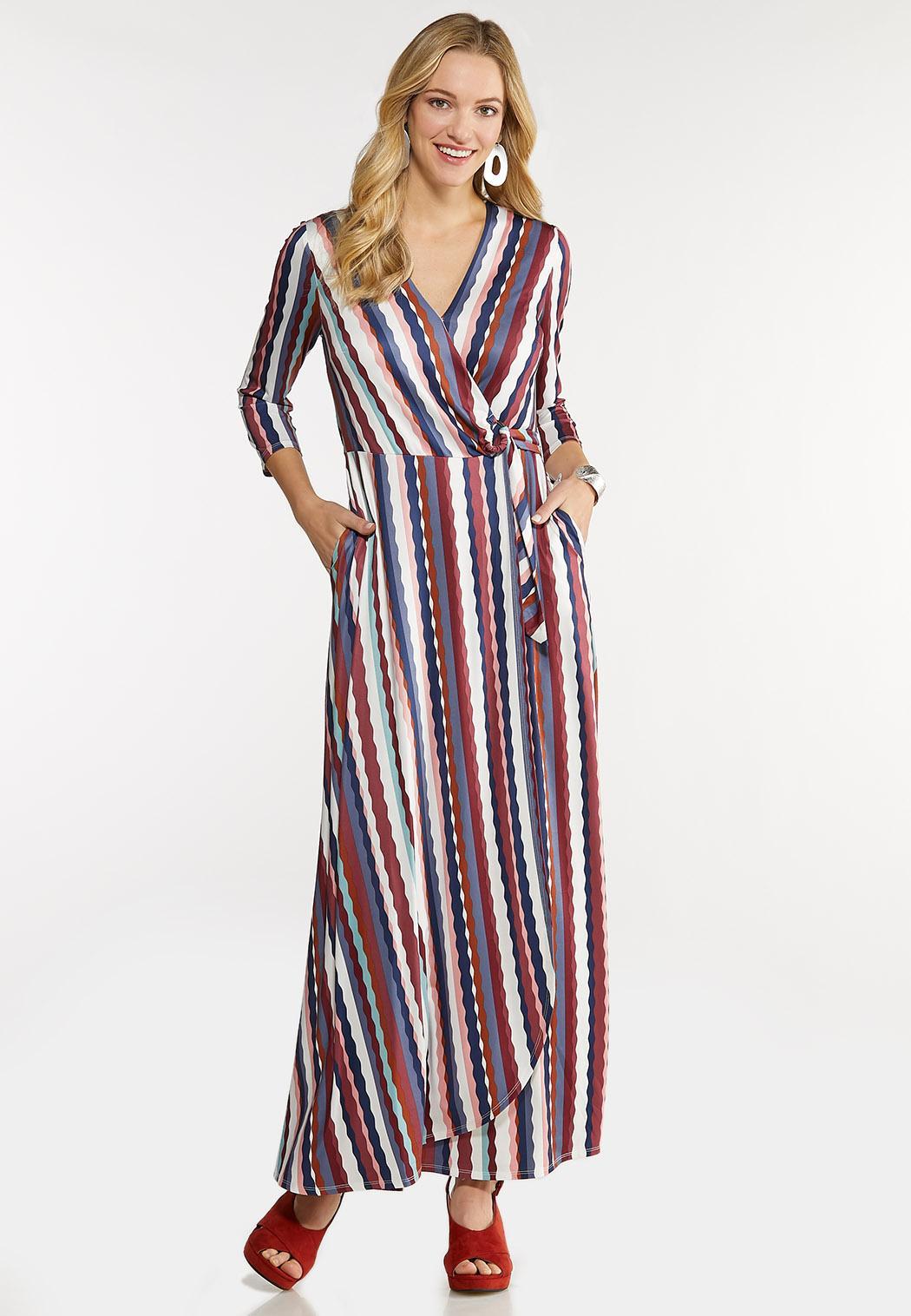 Plus Size Stripe Wrap Maxi Dress