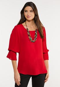 Plus Size Dramatic Sleeve Woven Top