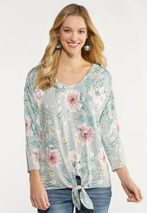 Plus Size Pink Blossom Tie Front Top