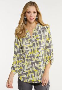 Yellow Geo Pullover Top