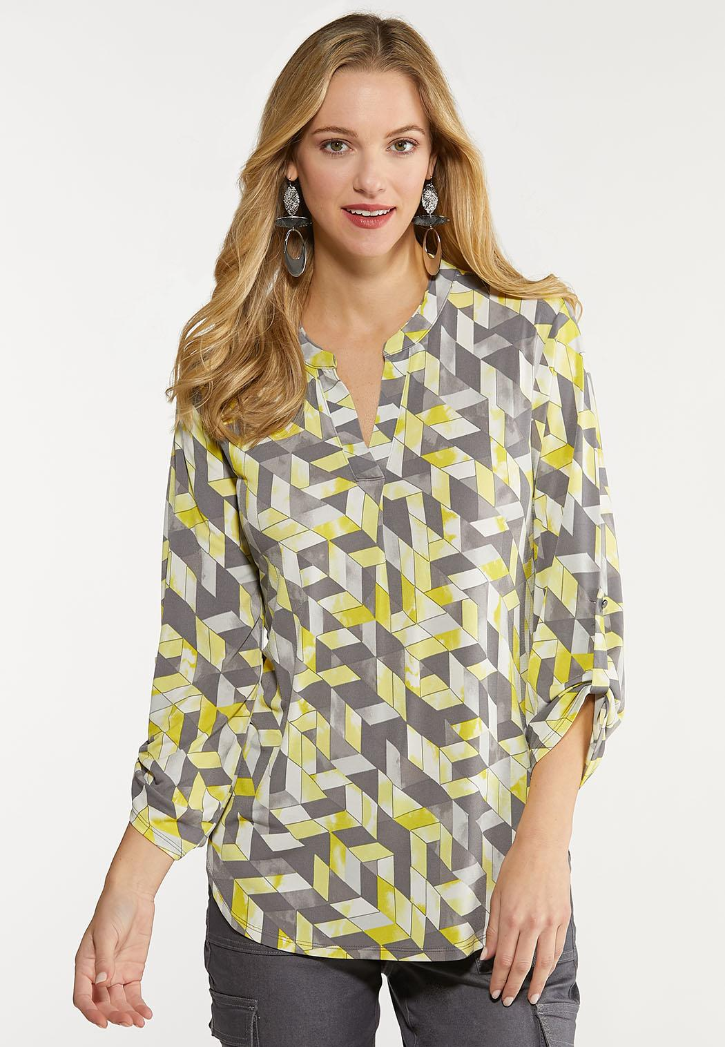 Plus Size Yellow Geo Pullover Top